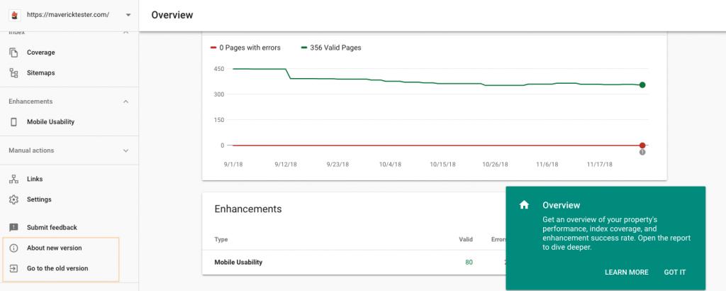 Google WebMaster New Version
